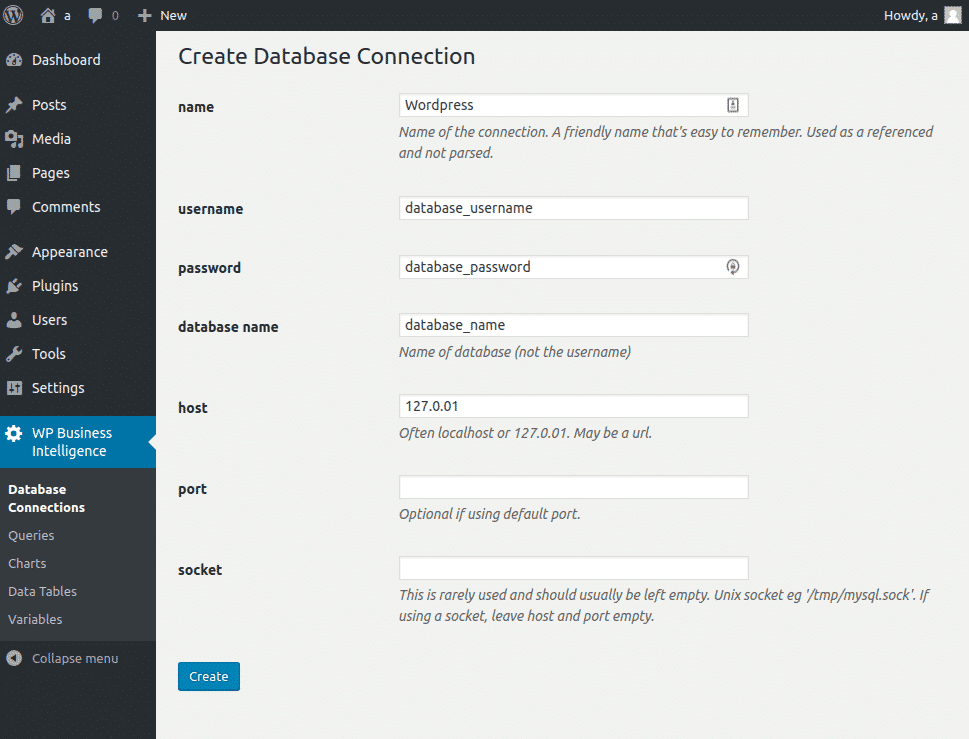 WordPress Business Intelligence Plug-in instructions on creating a database connection